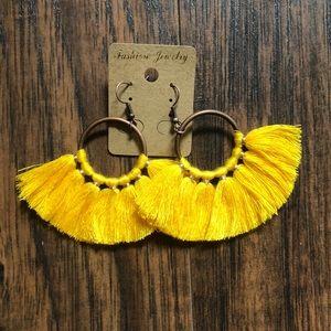 Yellow dangle hoop tassel earrings
